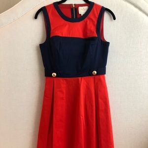 Kate Spade Dress -Red & Navy Blue w/ Gold Buttons